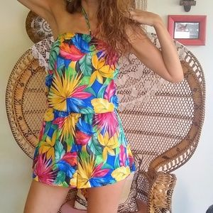 80s tropical print romper with pocket